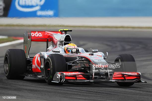 Lewis Hamilton of Great Britain and McLaren Mercedes drives on his way to winning the Turkish Formula One Grand Prix at Istanbul Park on May 30 in...
