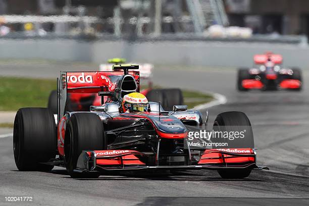 Lewis Hamilton of Great Britain and McLaren Mercedes drives on his way to winning the Canadian Formula One Grand Prix at the Circuit Gilles...