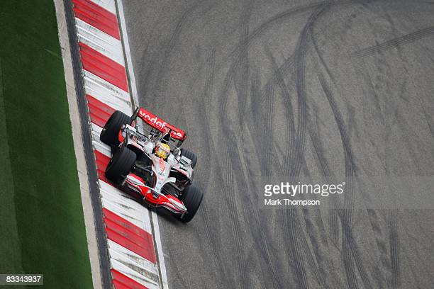 Lewis Hamilton of Great Britain and McLaren Mercedes drives on his way to winning the Chinese Formula One Grand Prix at the Shanghai International...