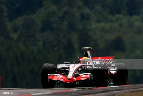 Lewis Hamilton of Great Britain and McLaren Mercedes in action during practice for the European Grand Prix at Nurburgring on July 20, 2007 in...