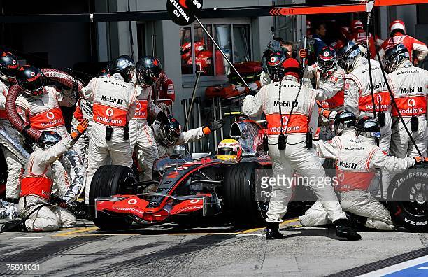 Lewis Hamilton of Great Britain and McLaren Mercedes in the pits during the European Grand Prix at Nurburgring on July 22 2007 in Nurburg Germany