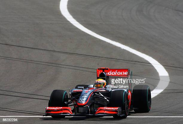 Lewis Hamilton of Great Britain and McLaren Mercedes loses control of his car during practice for the Turkish Formula One Grand Prix at Istanbul Park...