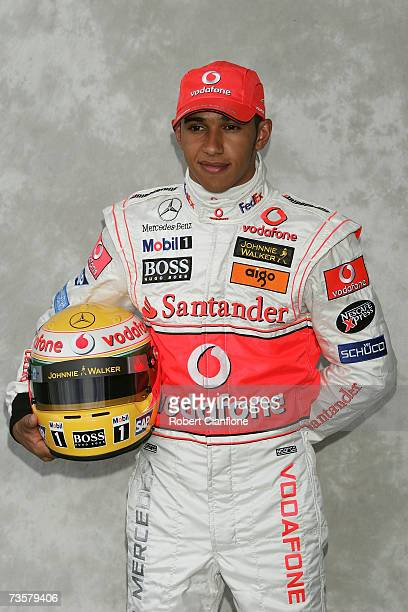 Lewis Hamilton of Great Britain and McLaren Mercedes poses during the pre-season drivers photocall ahead of the Australian Formula One Grand Prix at...