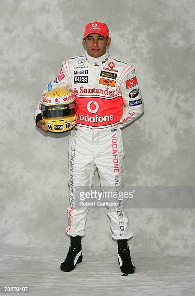 Lewis Hamilton of Great Britain and McLaren Mercedes poses during the preseason drivers photocall ahead of the Australian Formula One Grand Prix at...