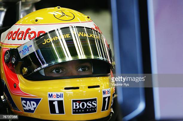SPA FRANCORCHAMPS BELGIUM SEPTEMBER 14 Lewis Hamilton of Great Britain and McLaren Mercedes prepares to drive during practice for the Belgian Formula...
