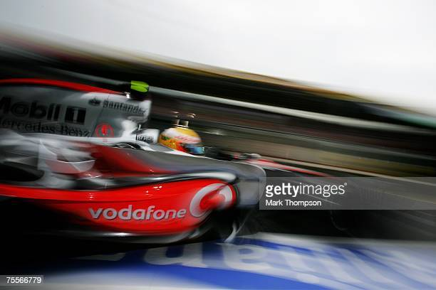 Lewis Hamilton of Great Britain and McLaren Mercedes pulls out of the pits during practice for the European Grand Prix at Nurburgring on July 20,...
