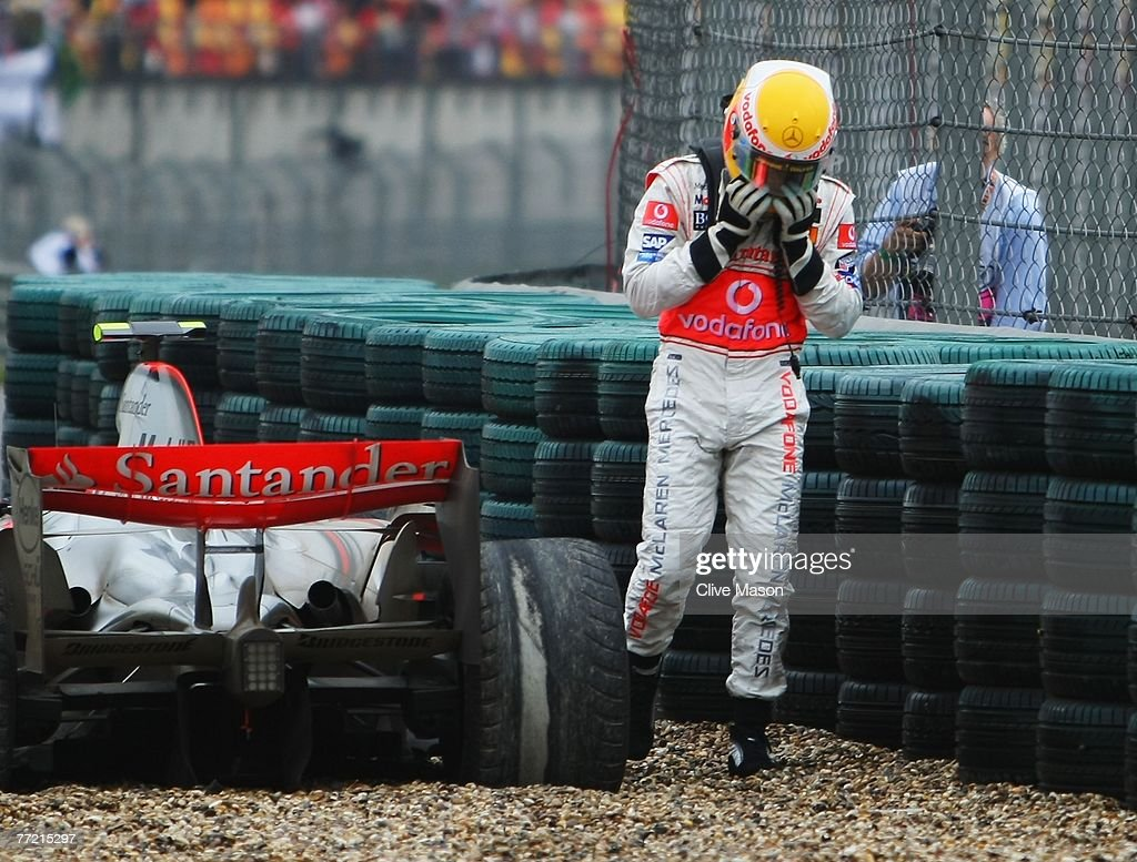 Lewis Hamilton of Great Britain and McLaren Mercedes retires early from the Chinese Formula One Grand Prix at the Shanghai International Circuit on October 7, 2007 in Shanghai, China.