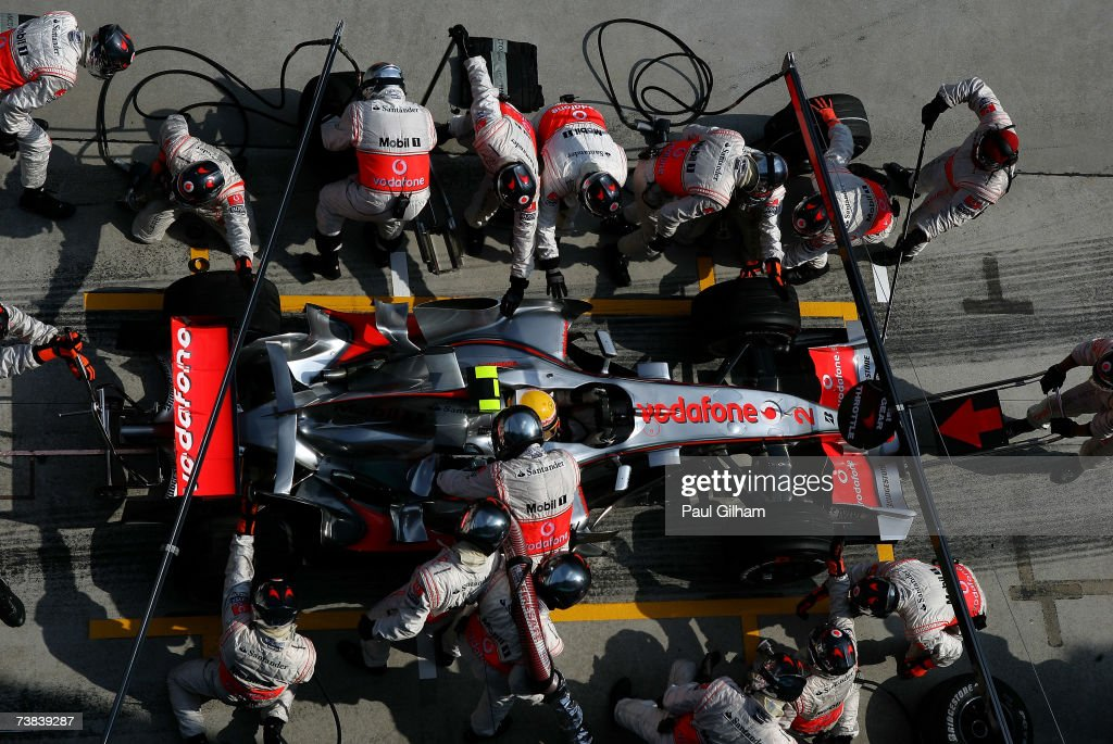 Lewis Hamilton of Great Britain and McLaren Mercedes stops for a pitstop during the Malaysian Formula One Grand Prix at the Sepang Circuit on April 8, 2007, in Kuala Lumpur, Malaysia.