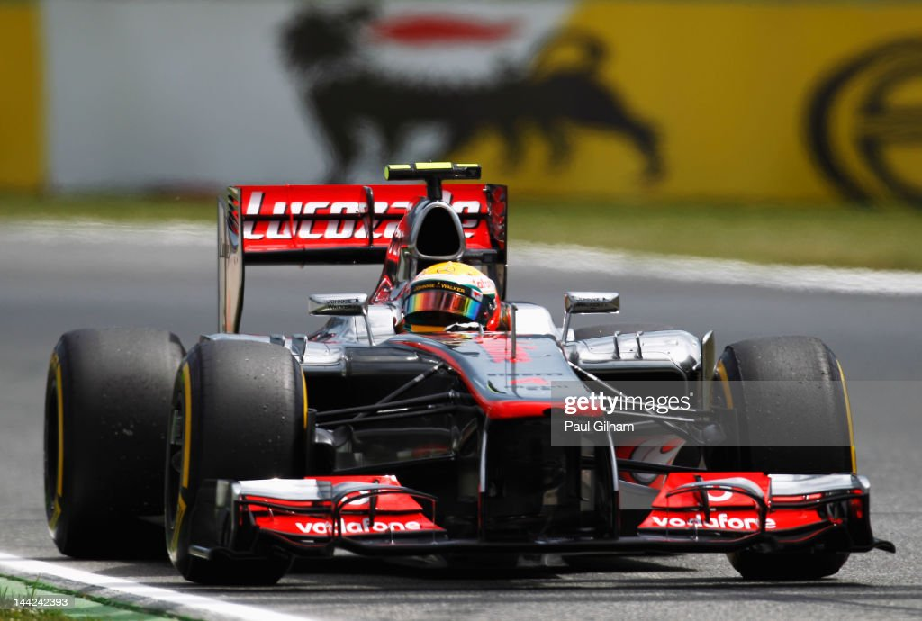 Lewis Hamilton of Great Britain and McLaren stops out on the track after finishing first during qualifying for the Spanish Formula One Grand Prix at the Circuit de Catalunya on May 12, 2012 in Barcelona, Spain.