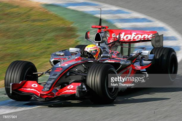 Lewis Hamilton of Great Britain and McLarenMercedes in action during Formula One testing at the Circuit De Jerez on February 6 2007 in Jerez de la...