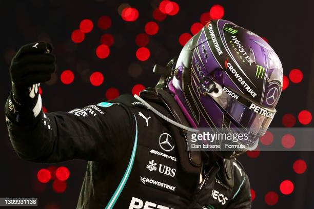Lewis Hamilton of Great Britain and Mercedes AMG Petronas F1 celebrates in parc ferme after winning the F1 Grand Prix of Bahrain at Bahrain...
