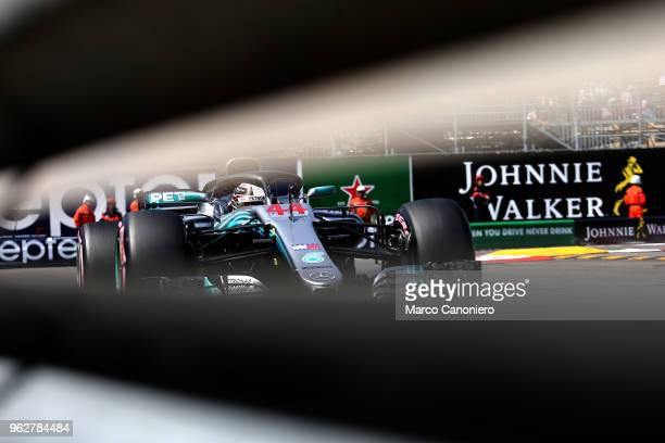 Lewis Hamilton of Great Britain and Mercedes AMG Petronas F1 Team on track during qualifying for the Monaco Formula One Gran Prix