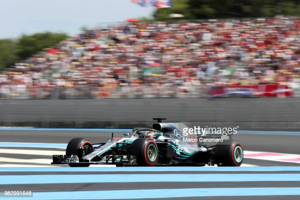 Lewis Hamilton of Great Britain and Mercedes AMG Petronas F1 Team on track during Formula One Gran Prix de France