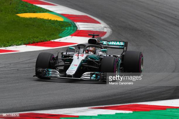 Lewis Hamilton of Great Britain and Mercedes AMG Petronas F1 Team on track during practice for the Formula One Grand Prix of Austria