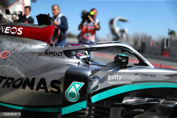 Lewis Hamilton of Great Britain and Mercedes AMG Petronas F1 Team during day four of F1 Winter Testing