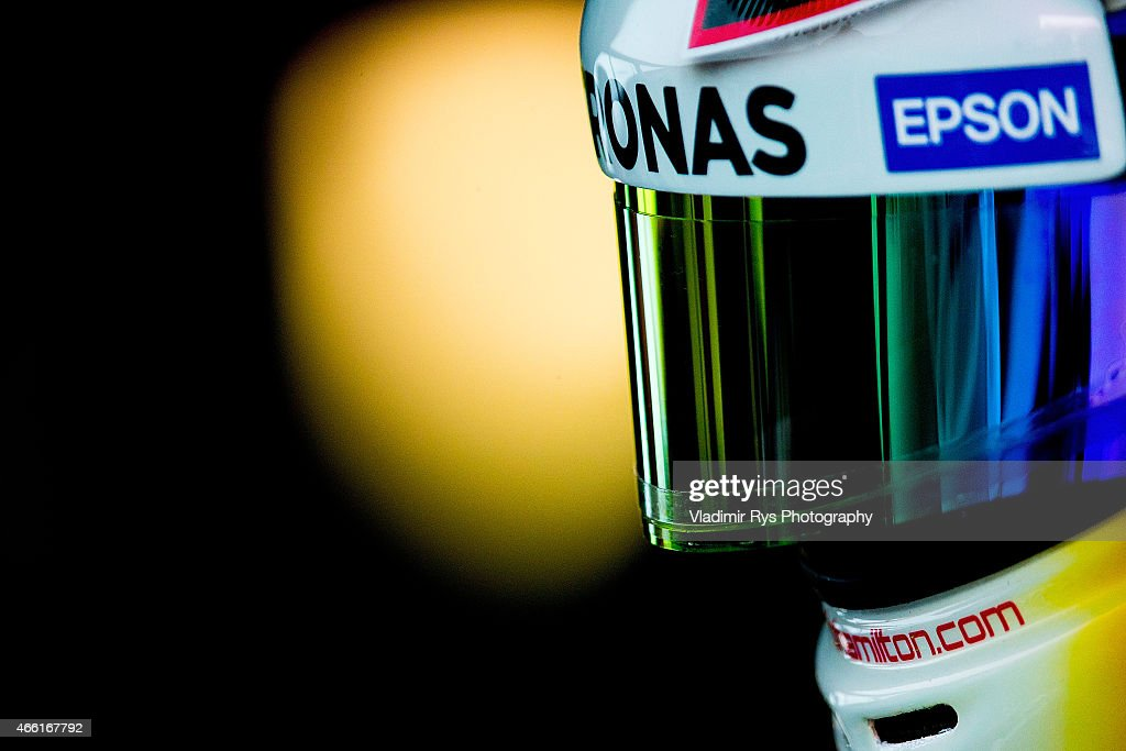 Lewis Hamilton of Great Britain and Mercedes AMG Petronas is pictured in his garage during qualifying for the Australian Formula One Grand Prix at Albert Park on March 14, 2015 in Melbourne, Australia.