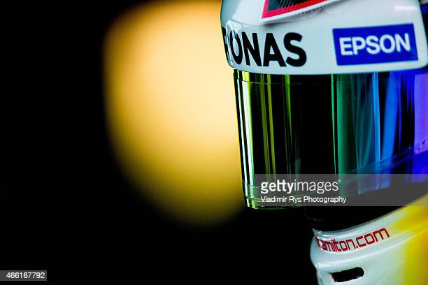 Lewis Hamilton of Great Britain and Mercedes AMG Petronas is pictured in his garage during qualifying for the Australian Formula One Grand Prix at...