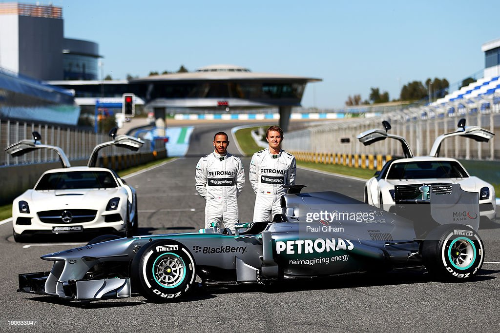 Lewis Hamilton of Great Britain and Mercedes and Nico Rosberg of Germany and Mercedes pose during the Mercedes GP F1 W04 Launch at Circuito de Jerez on February 4, 2013 in Jerez de la Frontera, Spain.