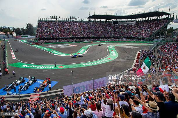 Lewis Hamilton of Great Britain and Mercedes celebrates winning the Formula One Grand Prix of Mexico at Autodromo Hermanos Rodriguez on October 30...