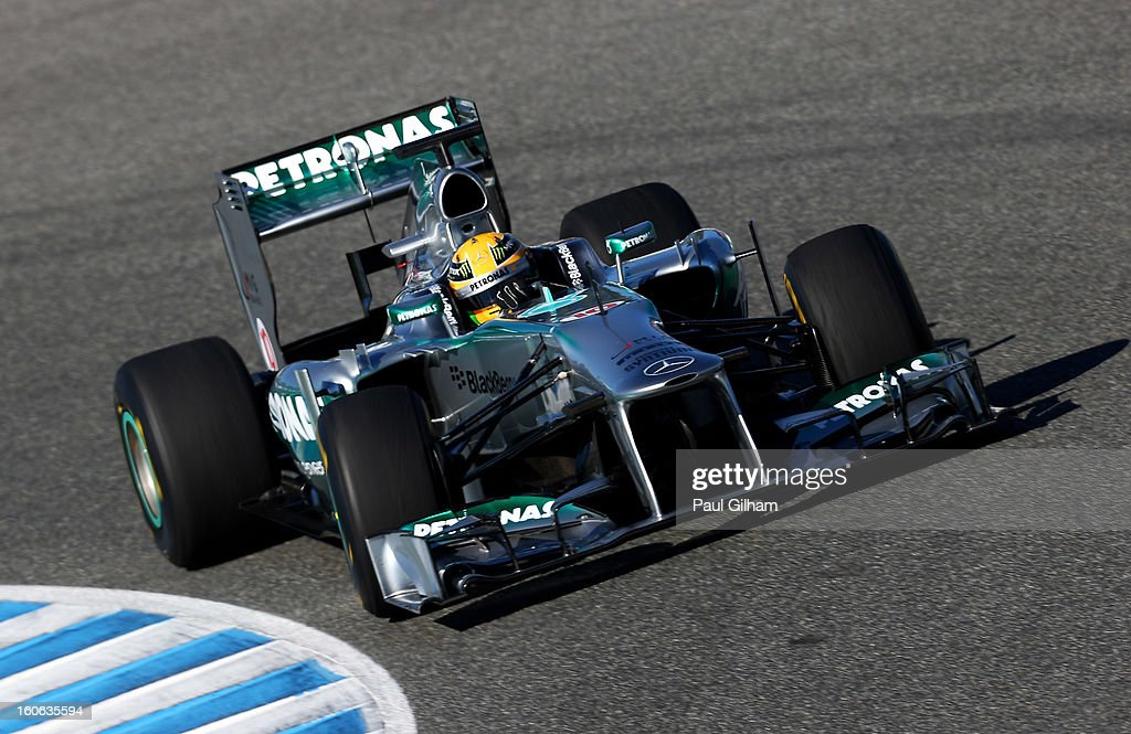 Lewis Hamilton of Great Britain and Mercedes drives following the Mercedes GP F1 W04 Launch at Circuito de Jerez on February 4, 2013 in Jerez de la Frontera, Spain.