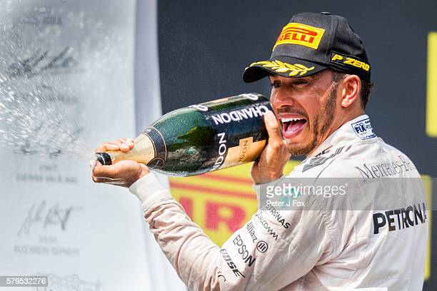 Lewis Hamilton of Great Britain and Mercedes during the Formula One Grand Prix of Hungary at Hungaroring on July 24 2016 in Budapest Hungary