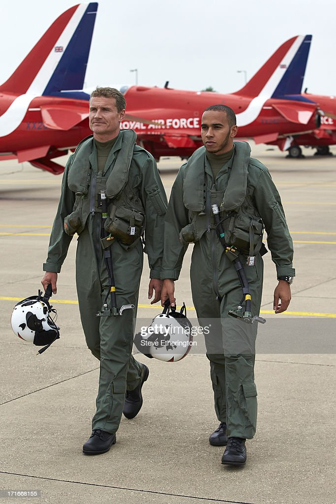 Lewis Hamilton Training with Red Arrows