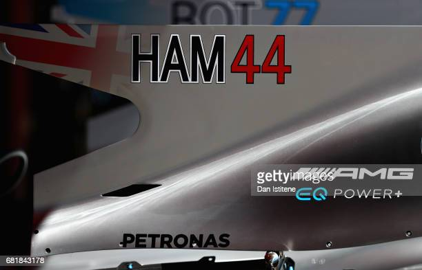 Lewis Hamilton of Great Britain and Mercedes GP and Valtteri Bottas of Finland and Mercedes GP numbers on the shark fin engine cover during previews...