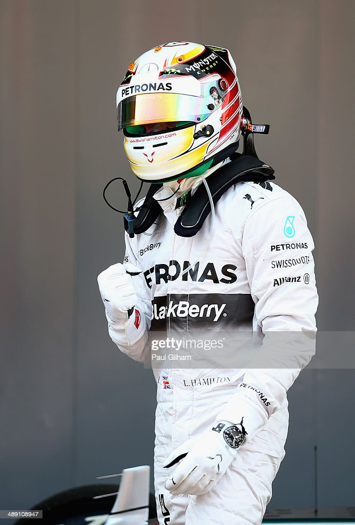 Lewis Hamilton of Great Britain and Mercedes GP celebrates after securing Pole Position during qualifying ahead of the Spanish F1 Grand Prix at Circuit de Catalunya on May 10, 2014 in Montmelo, Spain.