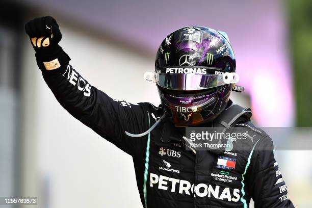 Lewis Hamilton of Great Britain and Mercedes GP celebrates in parc ferme after winning the Formula One Grand Prix of Styria at Red Bull Ring on July...