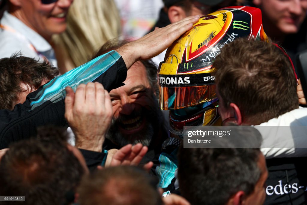 Lewis Hamilton of Great Britain and Mercedes GP celebrates with his team in Parc Ferme after winning the Canadian Formula One Grand Prix at Circuit Gilles Villeneuve on June 11, 2017 in Montreal, Canada.