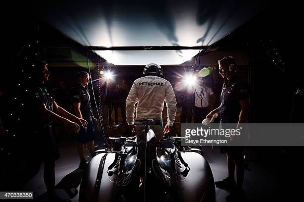 Lewis Hamilton of Great Britain and Mercedes GP climbs out of his car during practice for the Bahrain Formula One Grand Prix at Bahrain International...