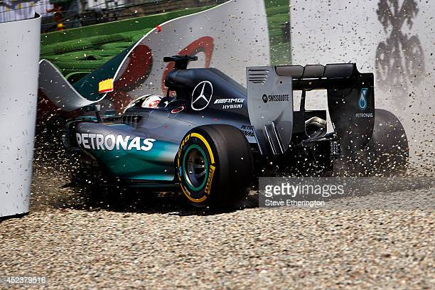 Lewis Hamilton of Great Britain and Mercedes GP crashes during qualifying ahead of the German Grand Prix at Hockenheimring on July 19, 2014 in...