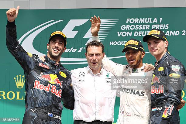 Lewis Hamilton of Great Britain and Mercedes GP Daniel Ricciardo of Australia and Red Bull Racing and Max Verstappen of Netherlands and Red Bull...