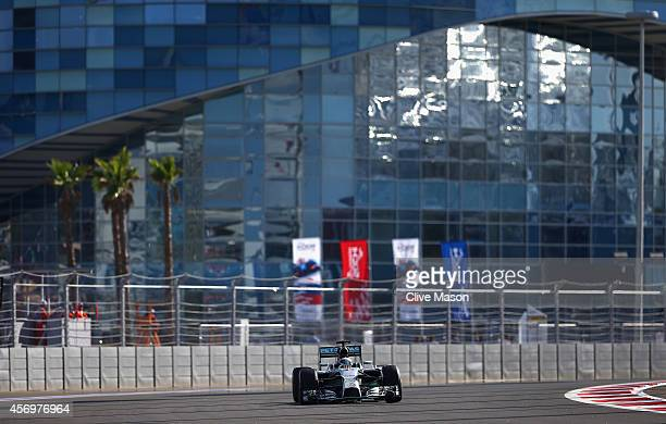 Lewis Hamilton of Great Britain and Mercedes GP dirves during practice ahead of the Russian Formula One Grand Prix at Sochi Autodrom on October 10,...