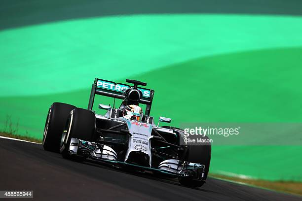 Lewis Hamilton of Great Britain and Mercedes GP dri2ves during practice ahead of the Brazilian Formula One Grand Prix at Autodromo Jose Carlos Pace...