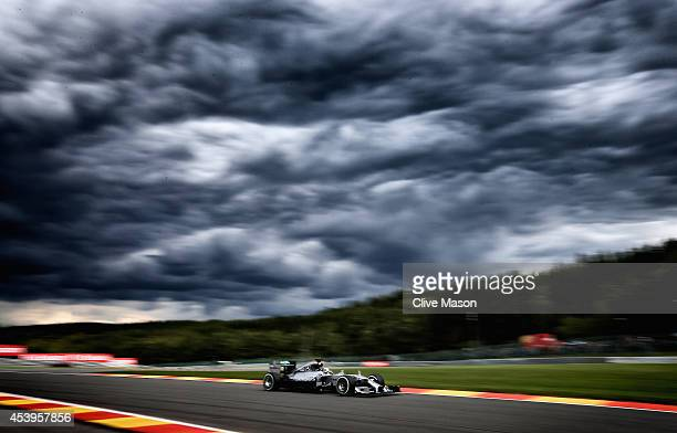Lewis Hamilton of Great Britain and Mercedes GP drives during practice ahead of the Belgian Grand Prix at Circuit de SpaFrancorchamps on August 22...