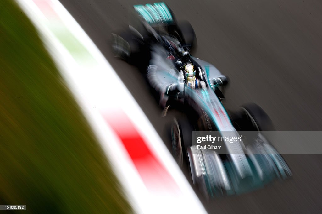 Lewis Hamilton of Great Britain and Mercedes GP drives during Practice ahead of the F1 Grand Prix of Italy at Autodromo di Monza on September 5, 2014 in Monza, Italy.