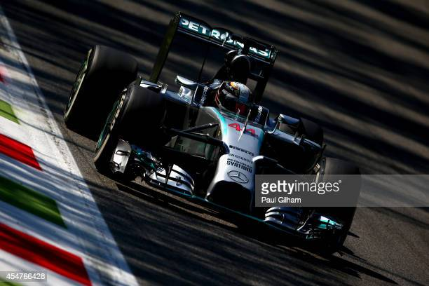 Lewis Hamilton of Great Britain and Mercedes GP drives during Qualifying ahead of the F1 Grand Prix of Italy at Autodromo di Monza on September 6...
