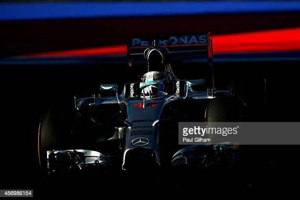 Lewis Hamilton of Great Britain and Mercedes GP drives during practice ahead of the Russian Formula One Grand Prix at Sochi Autodrom on October 10,...
