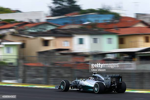 Lewis Hamilton of Great Britain and Mercedes GP drives during practice ahead of the Brazilian Formula One Grand Prix at Autodromo Jose Carlos Pace on...