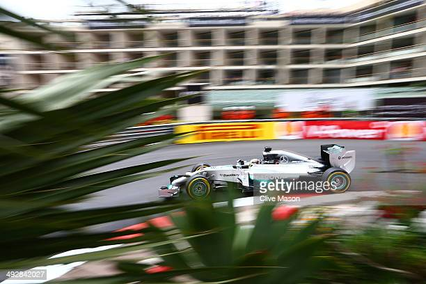 Lewis Hamilton of Great Britain and Mercedes GP drives during practice ahead of the Monaco Formula One Grand Prix at Circuit de Monaco on May 22 2014...