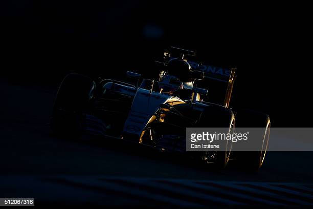 Lewis Hamilton of Great Britain and Mercedes GP drives during day three of F1 winter testing at Circuit de Catalunya on February 24, 2016 in...