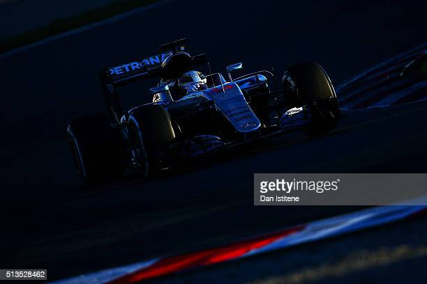 Lewis Hamilton of Great Britain and Mercedes GP drives during day three of F1 winter testing at Circuit de Catalunya on March 3, 2016 in Montmelo,...