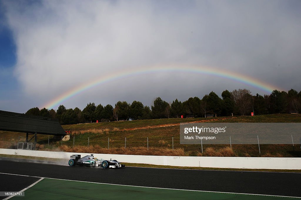 Lewis Hamilton of Great Britain and Mercedes GP drives during day one of Formula One winter test at the Circuit de Catalunya on February 28, 2013 in Montmelo, Spain.