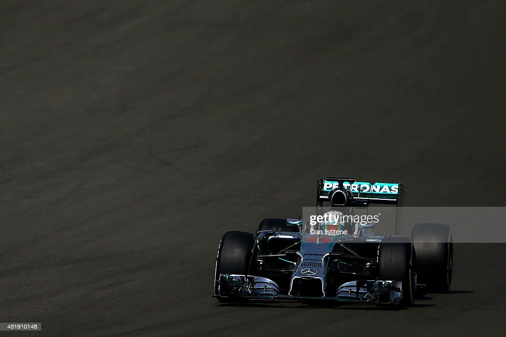 Lewis Hamilton of Great Britain and Mercedes GP drives during day two of testing at Silverstone Circuit on July 9, 2014 in Northampton, England.