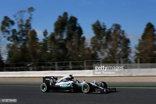 Lewis Hamilton of Great Britain and Mercedes GP drives during day two of F1 winter testing at Circuit de Catalunya on March 2, 2016 in Montmelo,...