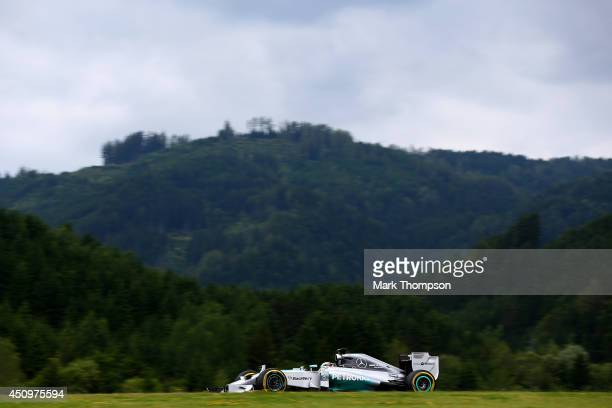 Lewis Hamilton of Great Britain and Mercedes GP drives during final practice ahead of the Austrian Formula One Grand Prix at Red Bull Ring on June 21...