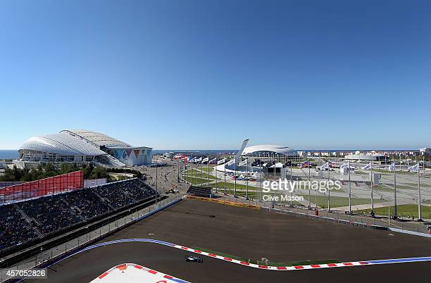 Lewis Hamilton of Great Britain and Mercedes GP drives during final practice ahead of the Russian Formula One Grand Prix at Sochi Autodrom on October...