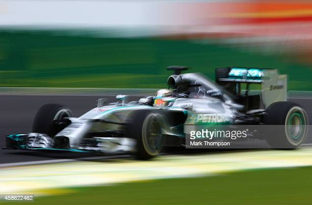 Lewis Hamilton of Great Britain and Mercedes GP drives during final practice for the Brazilian Formula One Grand Prix at Autodromo Jose Carlos Pace...