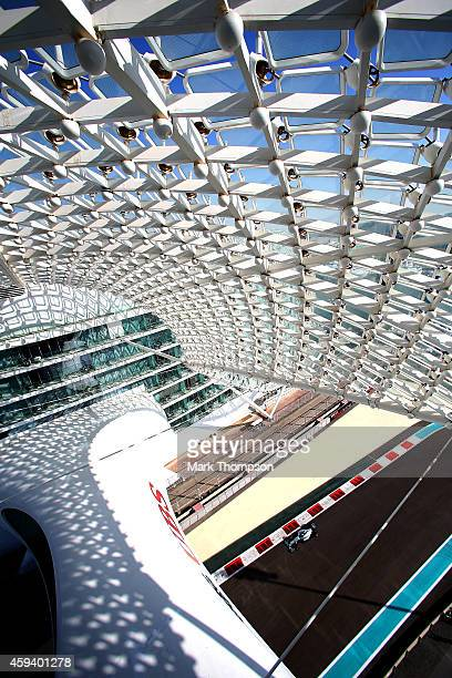 Lewis Hamilton of Great Britain and Mercedes GP drives during final practice ahead of the Abu Dhabi Formula One Grand Prix at Yas Marina Circuit on...